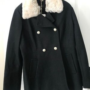 Pea Coat with Fur Lined Collar
